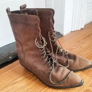 Genuine Leather Lace Up Boots